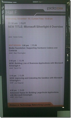 After the announcement of Silverlight 4, my talk appeared on the big board!